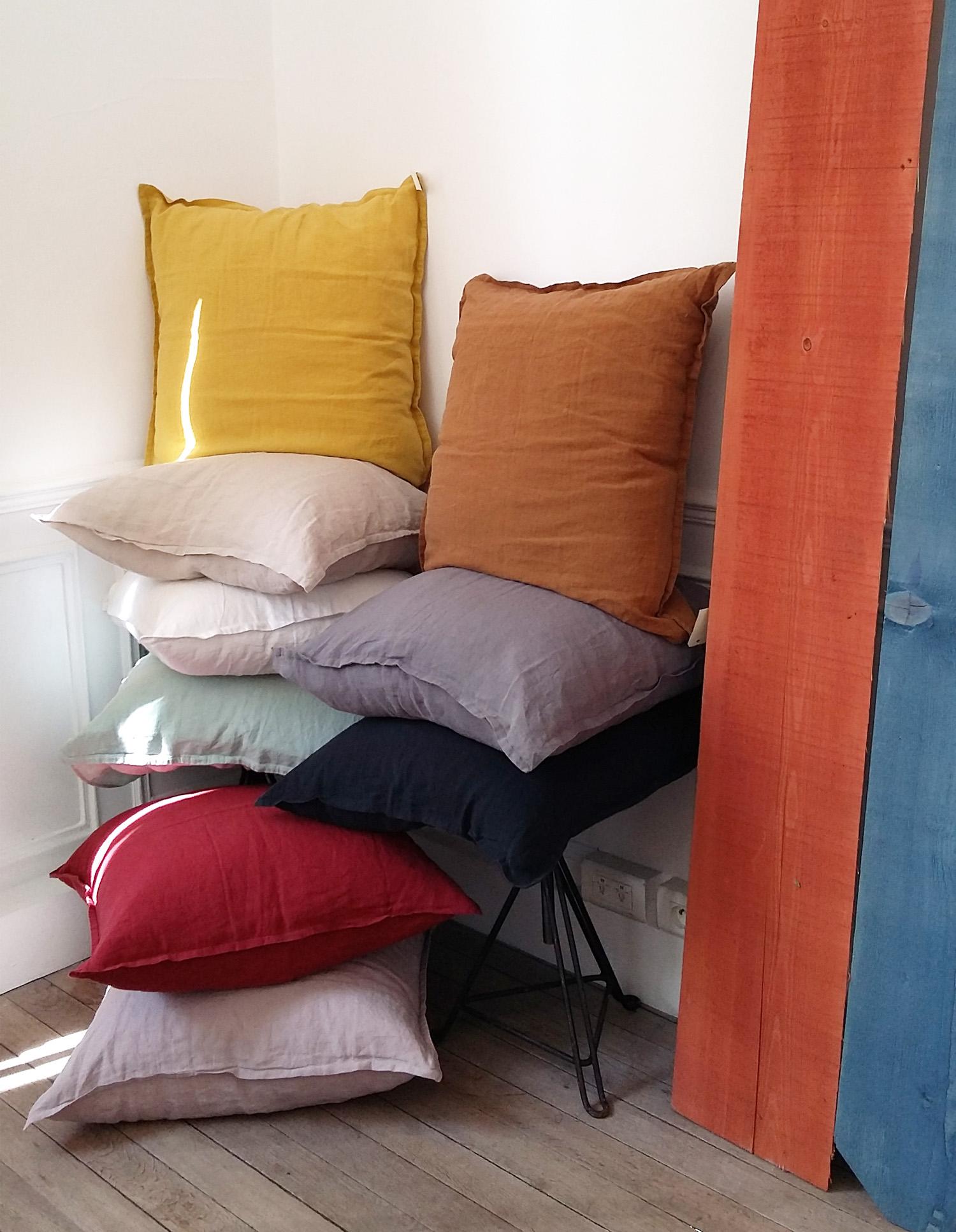 taie d 39 oreiller am ricain en lin lav. Black Bedroom Furniture Sets. Home Design Ideas